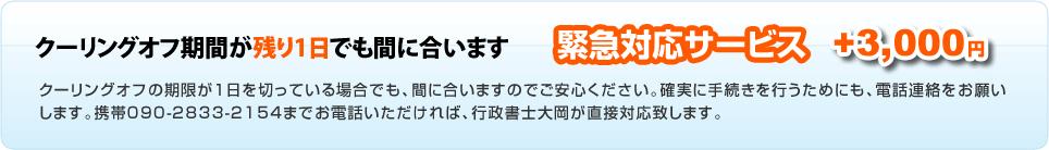緊急対応サービス +3,000円